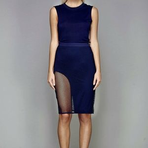 NWT Navy Mesh XS Stylestalker pencil skirt
